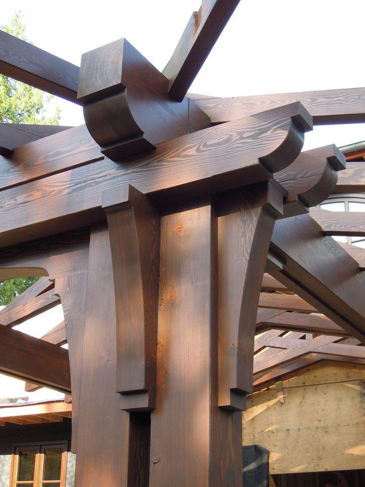Corner post. Beam above contains hidden steel I beam.
