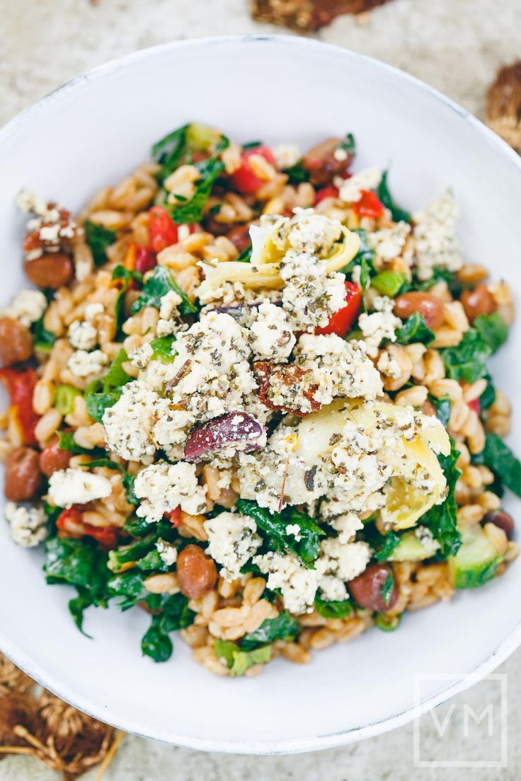 Vegan Farro Salad with Fava Beans Recipe.  Protein:  beans, vegan feta cheese.  If you are not concerned about being vegan, use dairy feta cheese