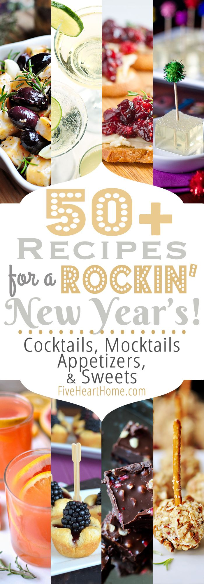 50+ Recipes for New Year's Eve ~ Cocktails, Mocktails, Appetizers, and Sweets | FiveHeartHome.com