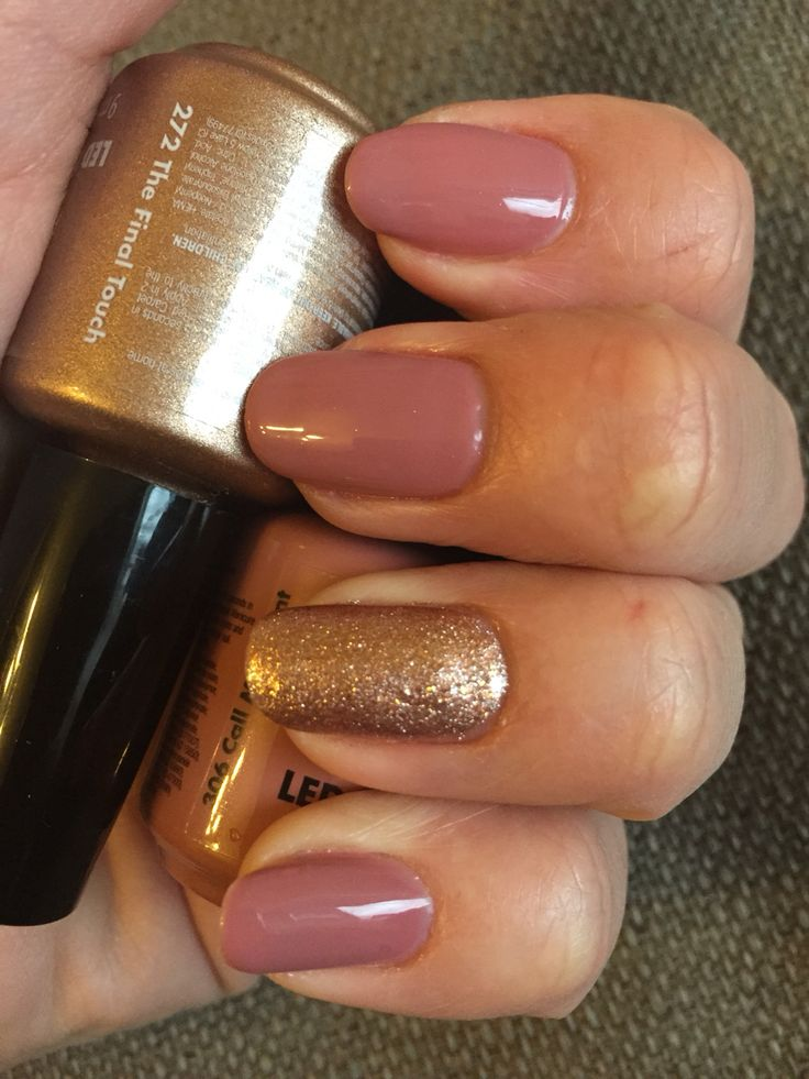 Red carpet manicure - call my agent & the final touch. Gold and nude nails