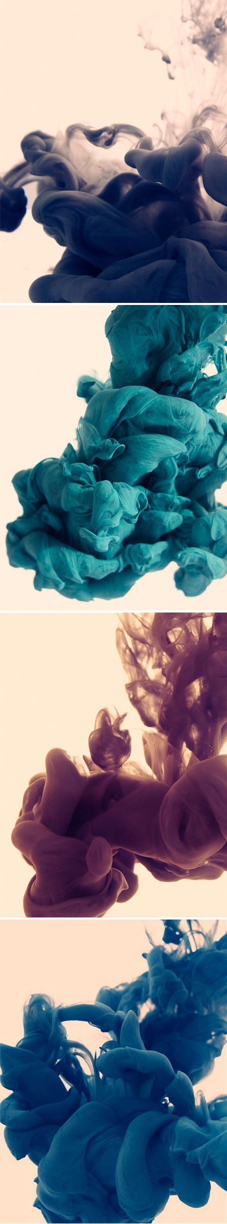Photographs of ink in water by Alberto Seveso / Fall color inspiration