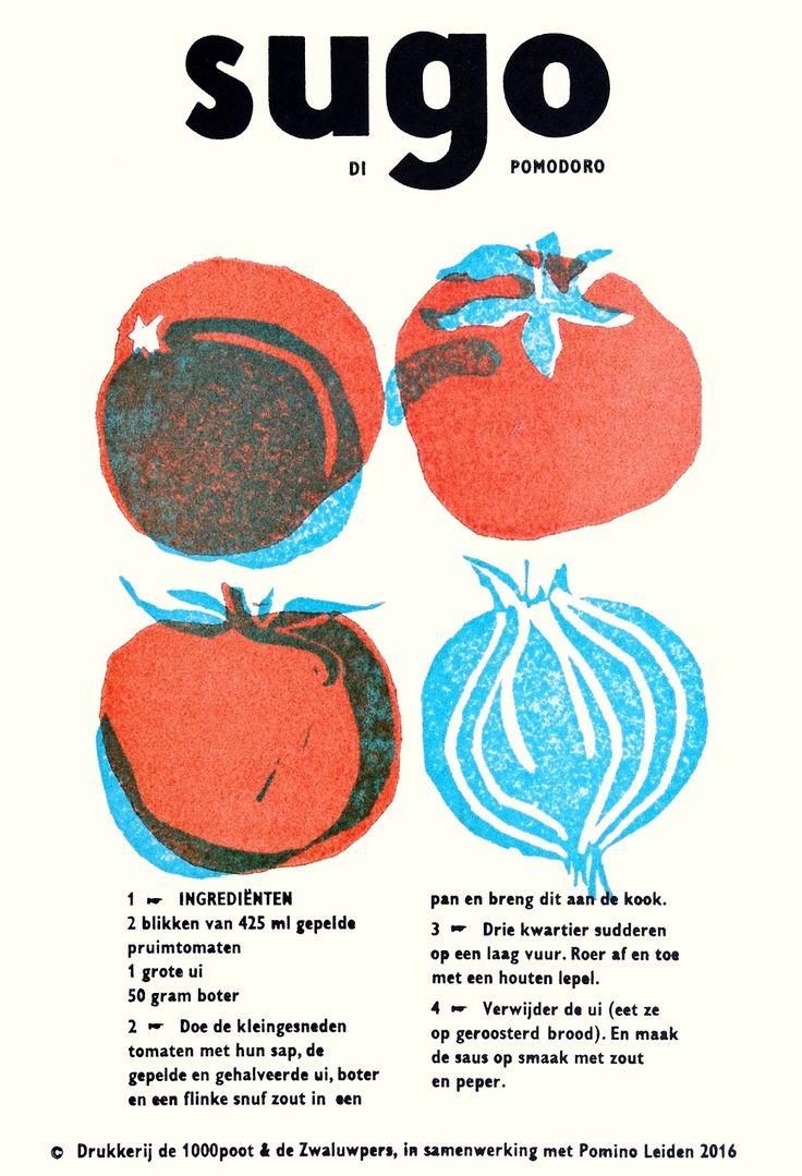 recipe print sugo #handprinted #drukkerijde1000poot