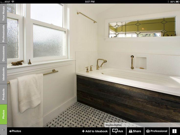 Tub Surround Reclaimed Wood Bathroom Design Ideas