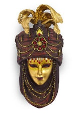"Mask with Turban Wall Plaque(Maroon & Gold) Statue 12 5/8"" L Z130VC"
