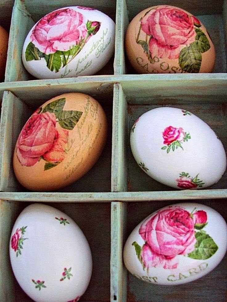 DΕCOUPAGE σε Πασχαλινά αυγά χωρίς κόλλα, με ασπράδι. | Φτιάξτο μόνος σου - Κατασκευές DIY - Do it yourself
