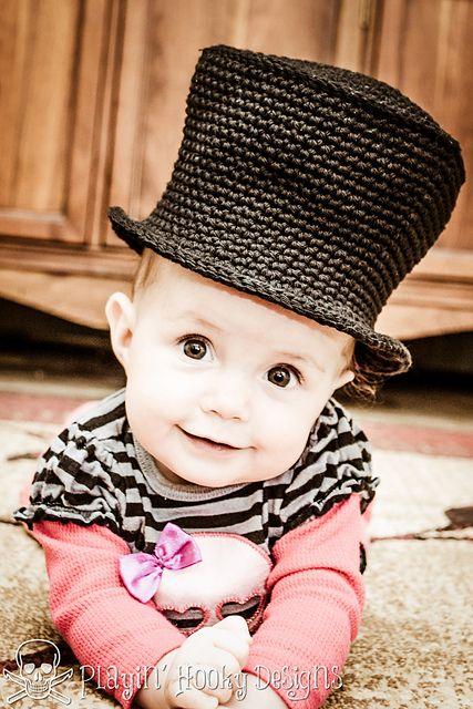 Baby Top Hat free crochet pattern by Playin' Hooky Designs #crochet #halloween #tophat