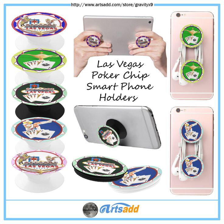 #LasVegasIcons ~ Las Vegas Poker Chip Design these Smart Phone Holders at #Artsadd by #Gravityx9 . Great for enhancing the grip and capabilities of your phone for watching videos, web surfing, texting, gaming, group photos, FaceTime, and Skype.