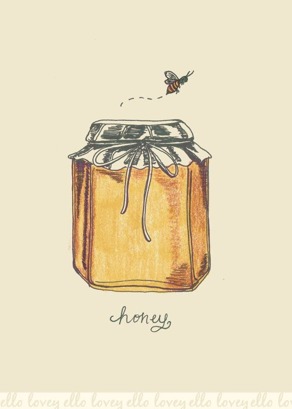 A fresh jar of honey straight from the bees is what inspired this sweet illustration. This summery print is perfect for honey and bee lovers alike!