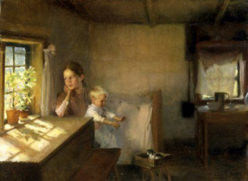 "Albert Edelfelt (1854-1905) - ""Woman and A Child With a Sunlit Interior"", A study for the painting ""Interior of a Crofter's Cottage"""