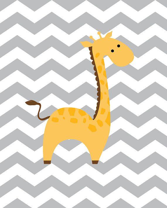 Baby Boy Nursery Art Chevron Giraffe Nursery by SweetLittleBarn, $14.99