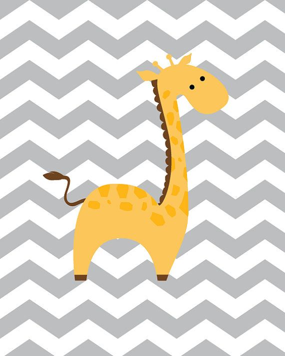 Baby Boy Nursery Art Chevron Giraffe Nursery by SweetLittleBarn, $14.99