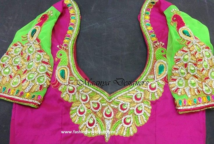 Beautiful Maggam work blouse designs from Maanya Designers  Maggam blouse designs are one of the most beautiful artwork with intricate aari and zardosi embroidery detailing. Now a days …