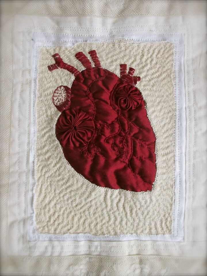 Red silk embroidered anatomical heart thepalerook.com                                                                                                                                                      More