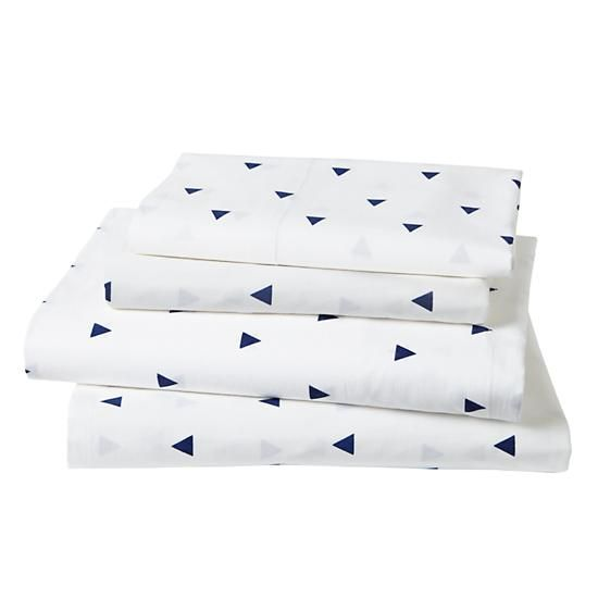 Twin Little Prints Sheet Set (Blue Triangle) in Kids Sheets | The Land of Nod