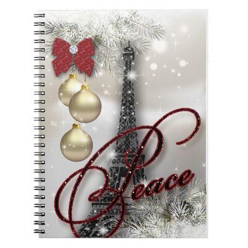 Christmas Eiffel Tower Journal Star Peace Spiral Notebooks