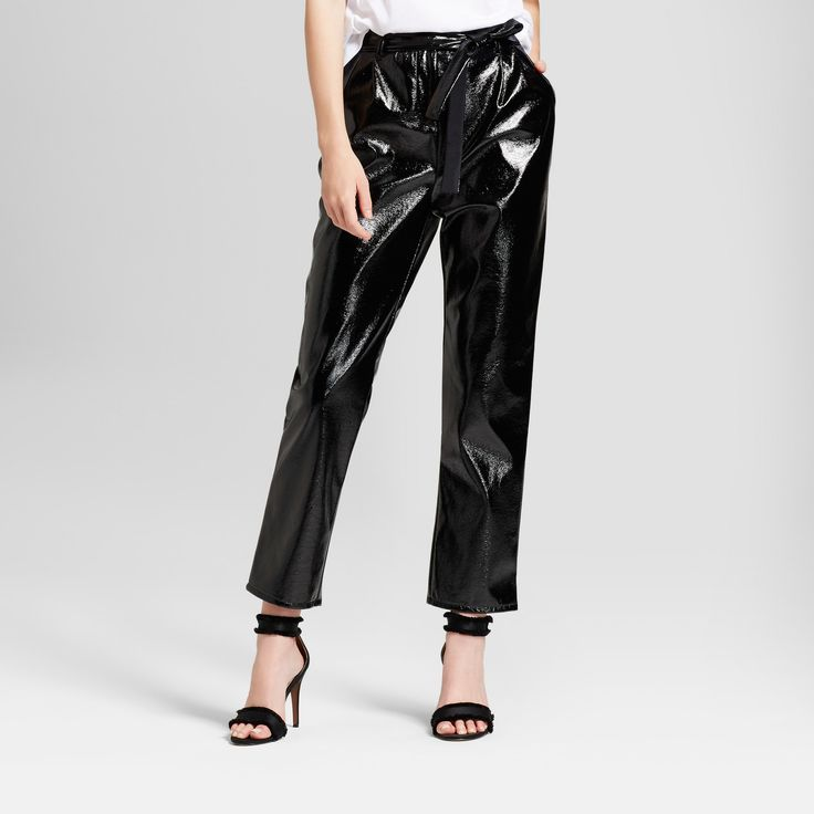 Women's Tapered Leg Patent Paperbag Trouser - Who What Wear Black 10