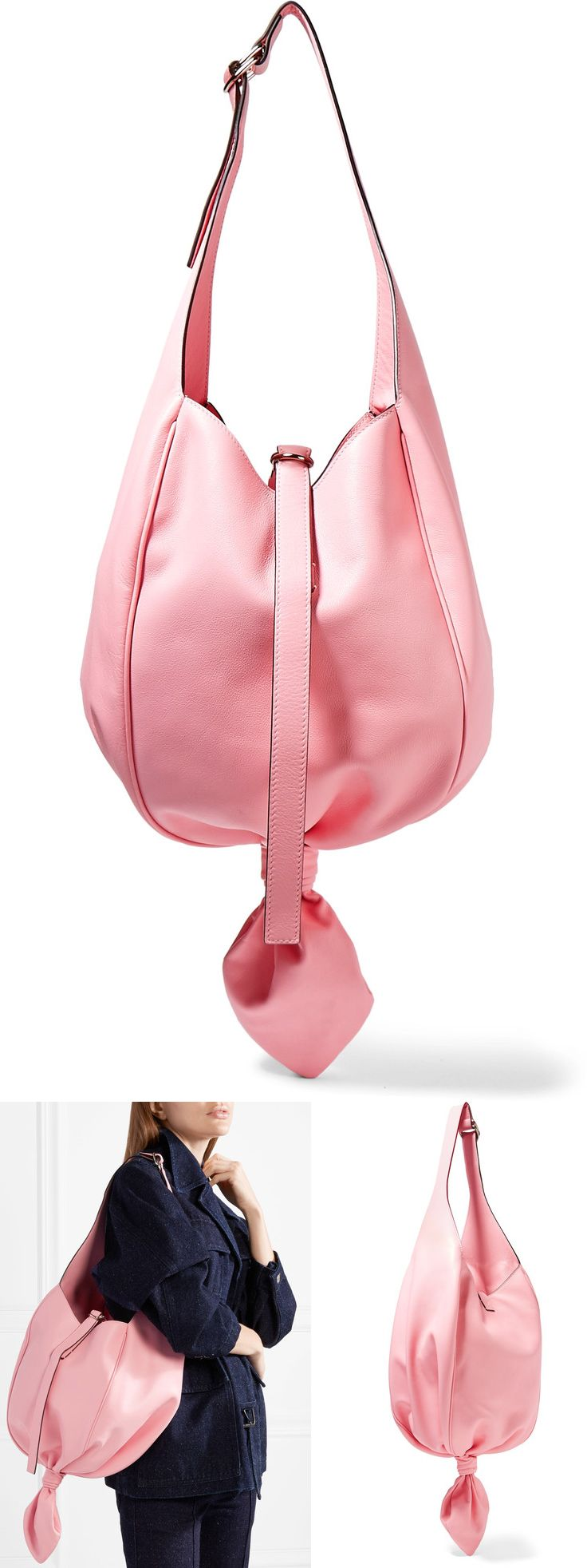 "Knot Leather Shoulder Bag - Baby pink. JW Anderson is known for creating ""thought-provoking silhouettes"" and this slouchy bag is no different. Designed with a sculptural knot at bottom, it's made in baby-pink leather, detailed with  adjustable shoulder strap. Love the candy pink colour. Wear with Brights for Summer, or look pretty as a picture out shopping with your camel, grey or white coat in winter. #shopper #bags #wearpink #thinkpink #fashion #fashionista #bagaddict #affiliatelink…"