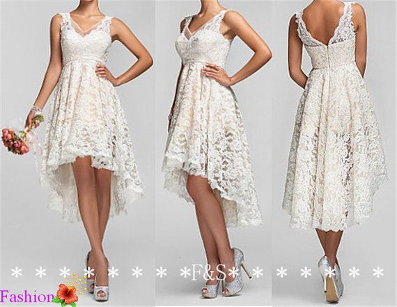 Hey, I found this really awesome Etsy listing at https://www.etsy.com/listing/189455156/high-low-ivory-lace-bridesmaid-dress