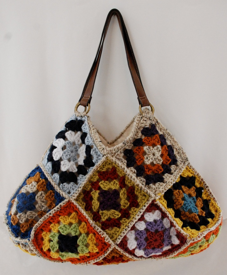 Crochet Granny Square Purse : crochet granny square motif purse bag multicolor. $90.00, via Etsy.