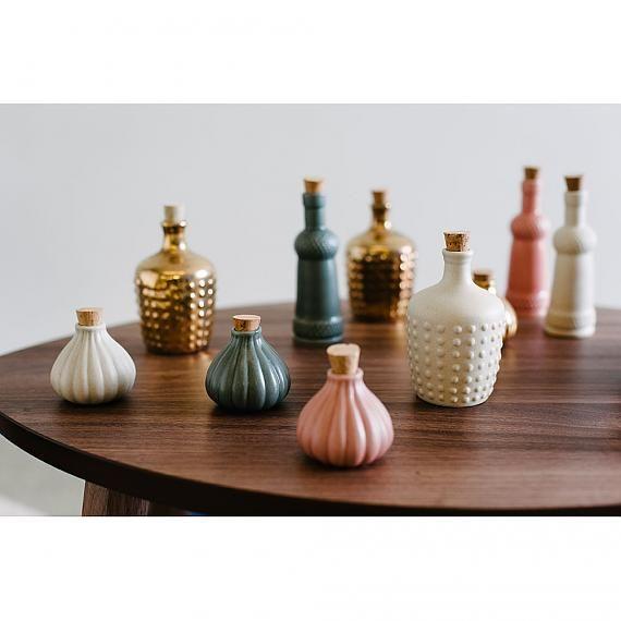 Ceramic Bottles designed in Australia by Love Hate Sea Anemone AUD $26, Braid AUD $29, Polka AUD $32