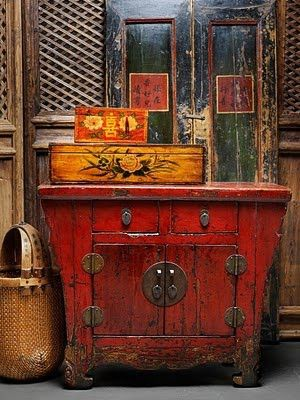 Meuble Chinois rouge