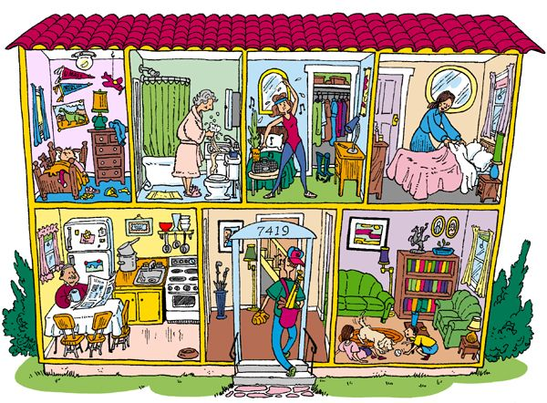 cutaway view of a Spanish-style house with family members ...