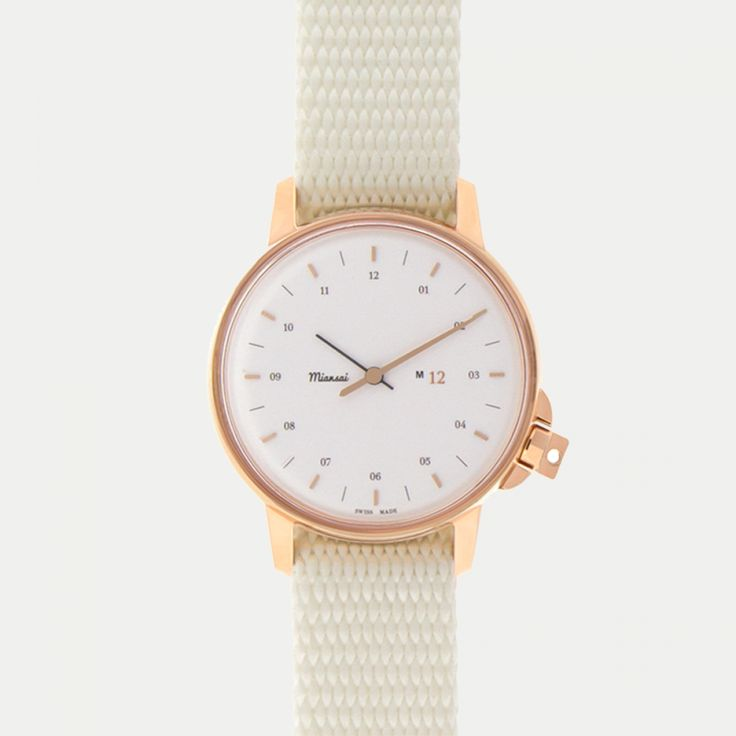 M12 Swiss Rose | White on Nylon Strap, White - M12 - Watches // made from rock climbing webbing