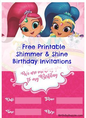 "Planning a Shimmer and Shine birthday party? Here are FREE printable Shimmer and Shine birthday invitations for you to use to invite guests to your magical party. These invitation templates feature Shimmer and Shine on a flying carpet and the words ""We are inviting you to my party"". There are spaces to fill in the …"