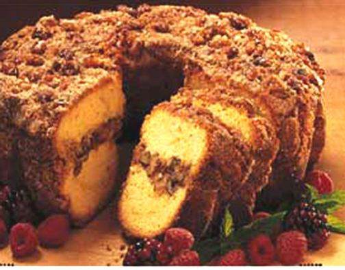 A moist sour cream coffee cake. This is a great recipe from an old friend. Preheat oven to 350 degrees F 175 degrees C . Grease and flour a 9x9 inch pan. Combine the flour baking