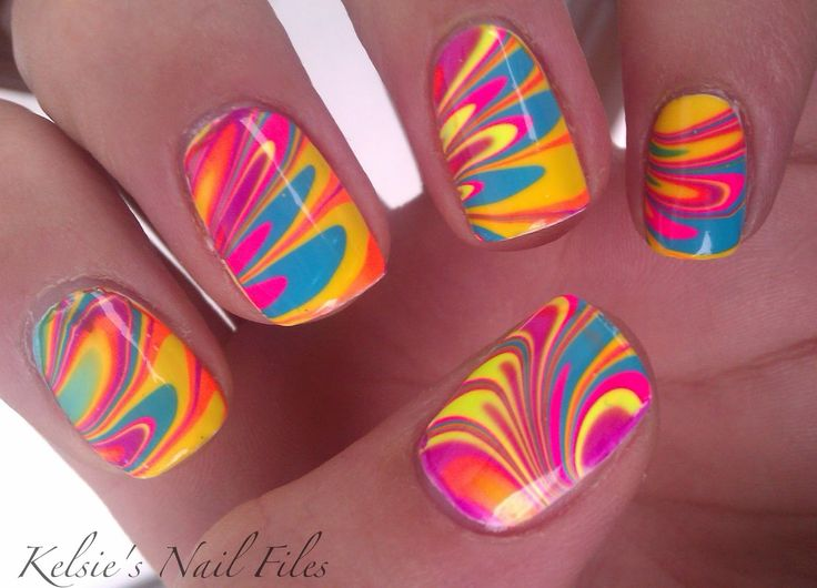 Neon Water MarbleNails Art, Nails Colors, Colors Nails, So Pretty, Ties Dyes, Easter Eggs, Swirls, Rainbows Nails, Marbles Nails