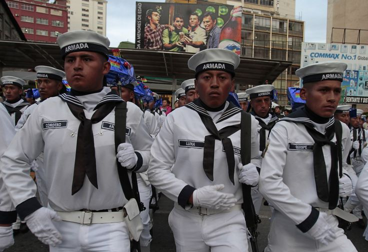 Bolivian sailors participate in events commemorating the War of the Pacific.