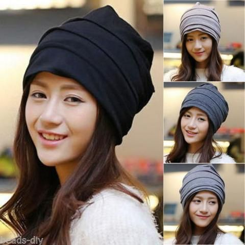 BD Womens Mens Winter Knitted Cotton Oversized Slouch Plicated Beanie Hat Cap