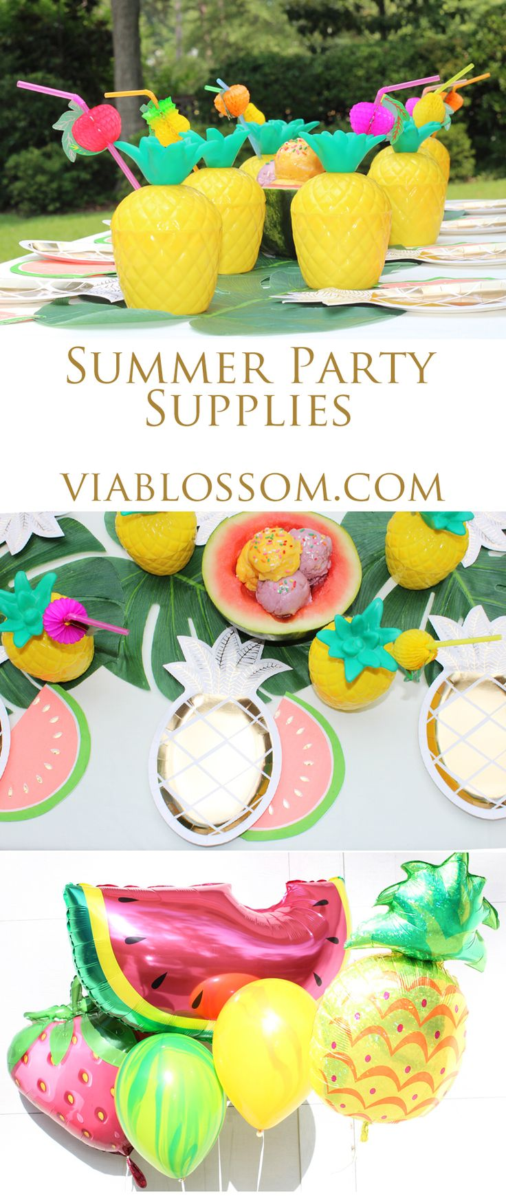 Must Have Pineapple Party Supplies Ideas on the Via Blossom Blog! Everything you'll need to throw an amazing Summer Party or Tropical Party, or Flamingo Party or Tutti Frutti Party! Don't Miss out!