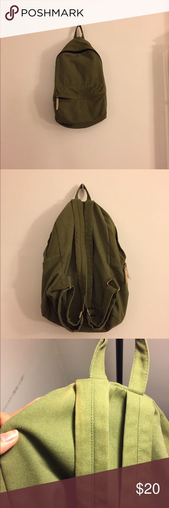 H&M Green Backpack H&M Green Backpack. Minimal use. Good condition. Slight discoloration on upper part of right hand strap (see pic 3). It's super roomy and fits quite a bit. No trades please. H&M Bags Backpacks