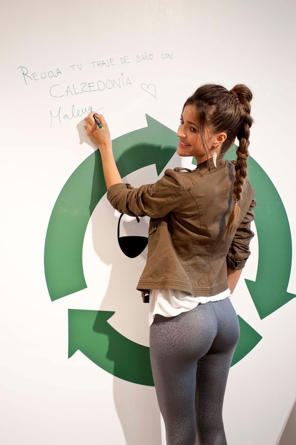 Here are 14 pics of MALENA COSTA at Calzedonia Recycled Campaign Photocall in Madrid. The hot fashion model is wearing tight bottoms with high heels and a jacket.