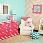 pink and teal and chevron stripes. This would be so fun for a teenager's room.