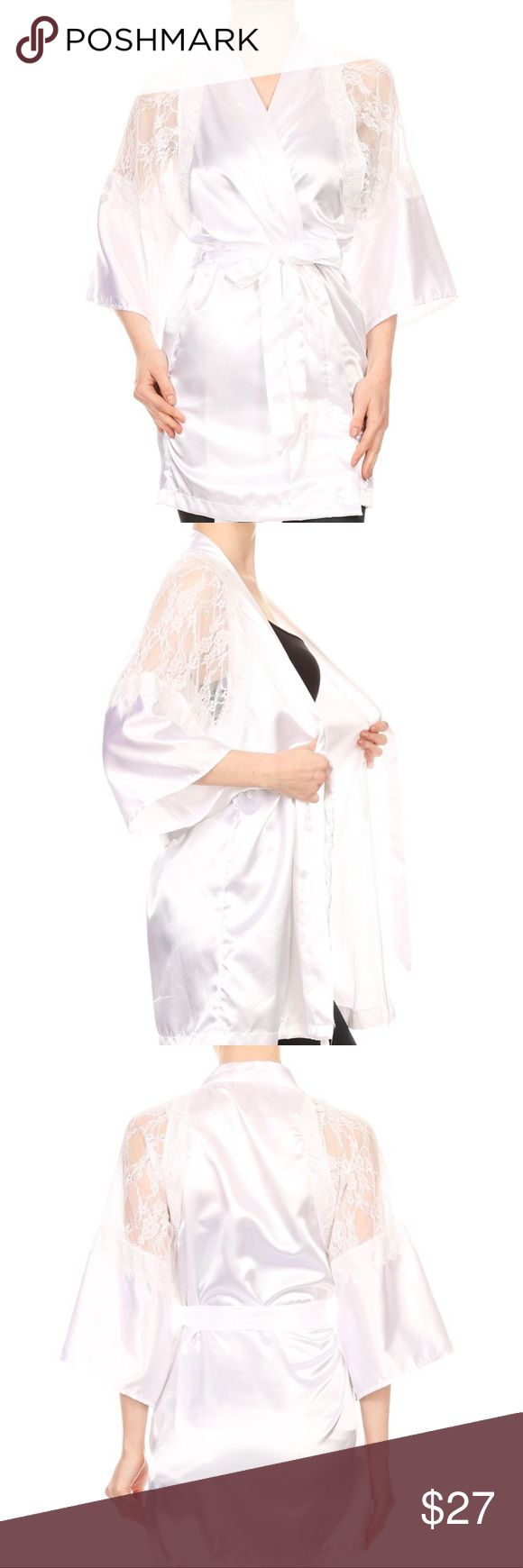 White Satin Kimono Robe💋💄 Powder room, night kimono 👘 Robe. Satin long body cadigan in a loose fit,  3/4 length bell sleeves, wrapped front, waist tie, V - neck and lace Intimates & Sleepwear Robes