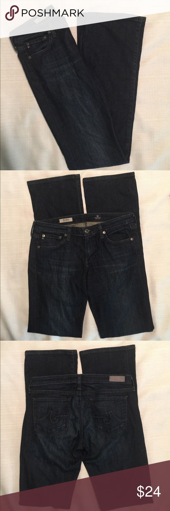 AG Adriano Goldschmied Oliva Skinny Bootcut Sz 29R Size: 29R  Style: Olivia skinny boot cut  Wash:  Dark  Materials: 70% cotton/28% lyocell/2% polyurethane   Measurements (approximate)  Waist (laying flat): 15 inches  Inseam: 33 inches  Rise: 8.5 inches  Leg Opening (laying flat): 8.5 inches   Condition:  No rips, tears, or stains. Nice broken in condition AG Adriano Goldschmied Jeans Boot Cut