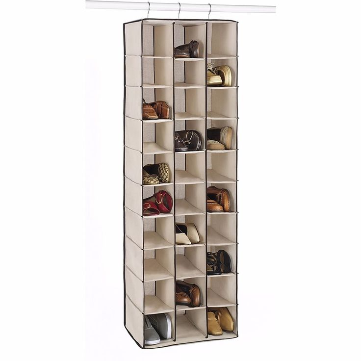 Hanging Shoes Organizer Closet Storage Rack Space Saving 30 Pair Pockets  Beige