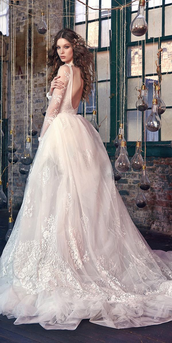 Snow White low back  long lace sleeves Galia Lahav wedding dresses 2016