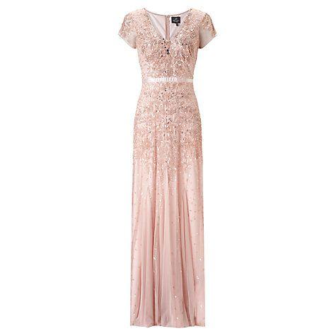 Buy Adrianna Papell Wedding Long Beaded Cap Sleeve Dress, Blush Online at johnlewis.com