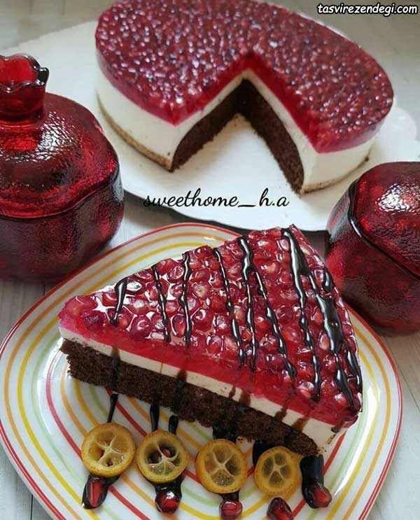چیزکیک یخی انار دسر مجلسی و خوشمزه شب یلدا مجله تصویر زندگی Bee Cakes Desserts Food
