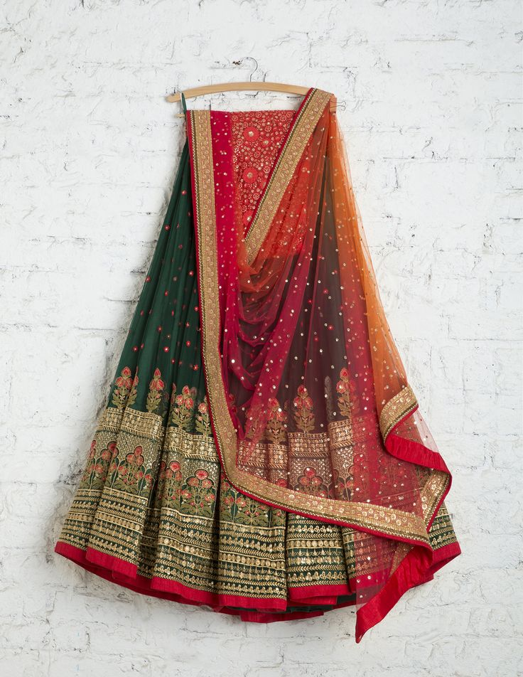 SwatiManish Lehengas SMF LEH 197 17 Forest green heavy daman lehenga with coral shaded badla dupatta and sequin threadwork blouse
