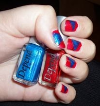Red and blue.