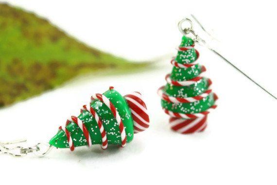 Christmas Earrings, Peppermint Swirl Candy Holiday Miniature Tree Folk Whimsical Hostess Novelty Nostalgic Winter Festive Teacher's Gift