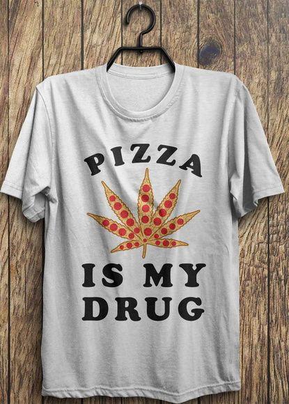 Camiseta Pizza é minha droga