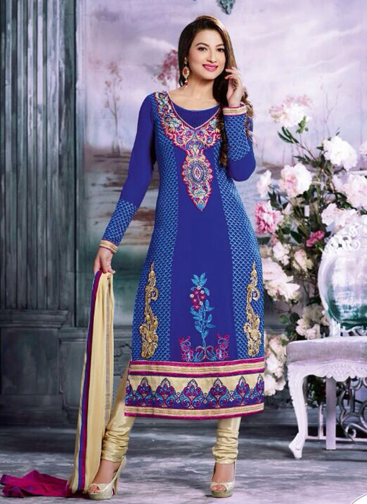 Blue Wedding Wear Anarkali Suits Collection  Grab Now @ http://www.suratwholesaleshop.com/casual-wear-beige-georgette-embroidered-work-straight-suit-4020?view=catalog