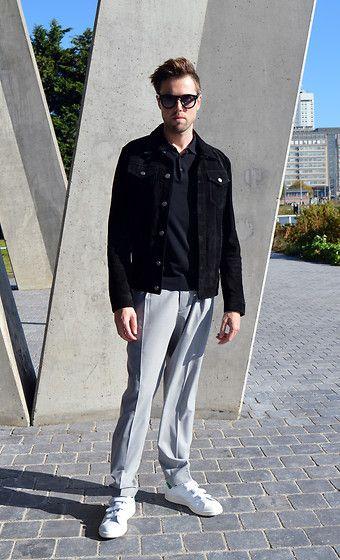 Zara Suede Jacket, Cos Polo, Cos Trousers, Adidas Stan Smith Velcro