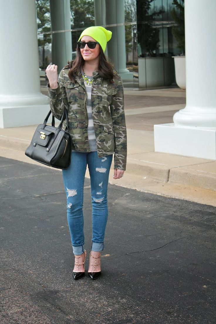 Wake Up Your Wardrobe What I Wore: Green with Envy Camo Jacket, Striped Sweater, Neon Green Beanie, Deconstructed Skinny Jeans, Rock Stud Heels, Wayfarer Sunglasses, and YSL Lingerie Pink Lipstick: