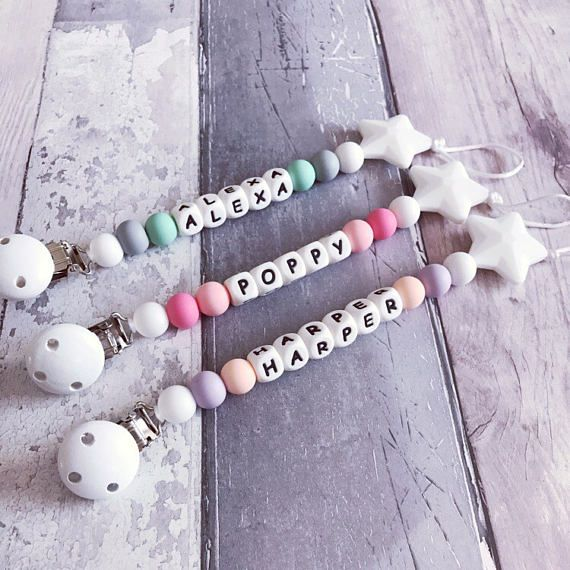 Personalised dummy clip / Toy clip 'Harper' star / silicone / Fiddle beads / hopes dreams and Jellybeans / Teething / Baby shower gift